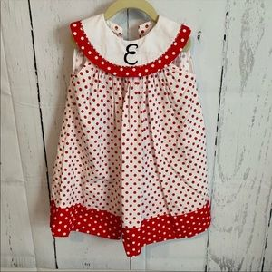 Boutique monogrammed E polka dot dress 4 4T